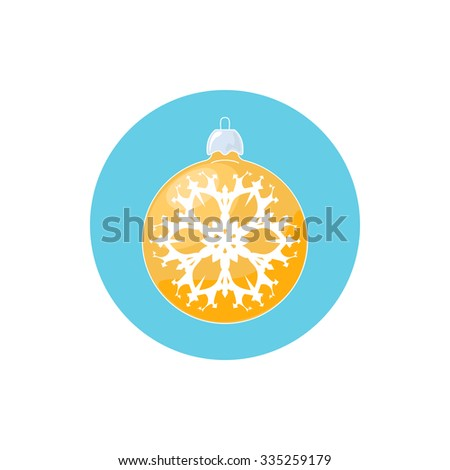 Colorful Icon Christmas  Ball with Snowflake , Colorful Icon Yellow Ball , Icon  Christmas Tree Decoration,Merry Christmas and Happy New Year,  Vector Illustration - stock vector