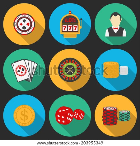 Colorful icon set on a casino theme. Gambling icons, casino icons, money icons - stock vector