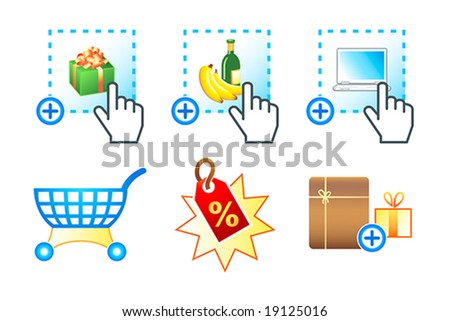 Colorful icon set with e-commerce, e-shopping, e-market objects - stock vector