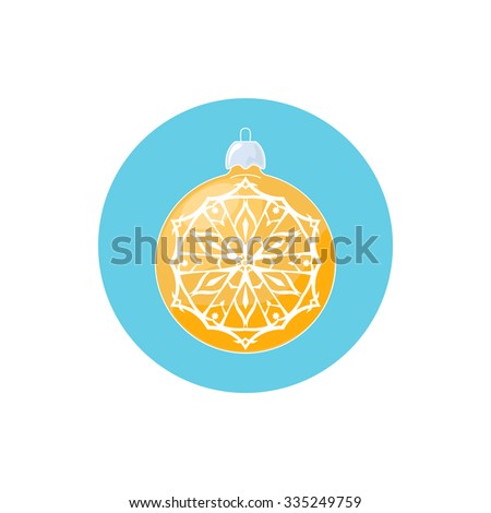 Colorful Icon Yellow Ball with Snowflake , Icon Christmas Tree Decoration,  Merry Christmas and Happy New Year, Vector Illustration - stock vector