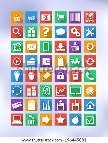 colorful icons for eshop with long shadow, suitable for flat design, with transparency and gradient mesh, eps 10
