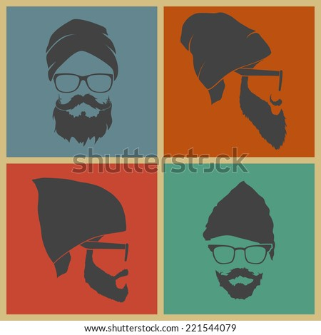 colorful icons hipster with a beard, mustache with headdress - stock vector