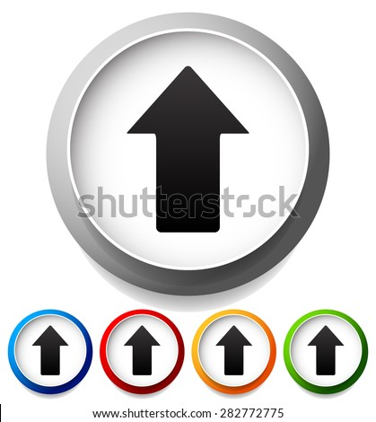 Colorful icons with up arrows, upward pointing arrows. - stock vector