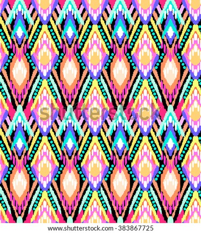colorful ikat stripes print ~ seamless background - stock vector