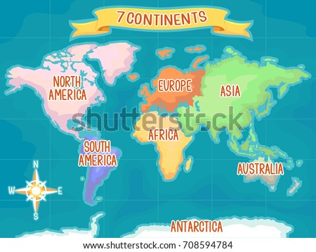 Colorful Illustration Featuring World Map Highlighting Stock - World map highlighting australia