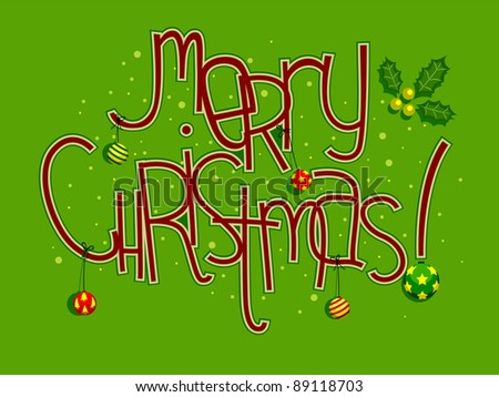 Colorful Illustration Featuring Christmas Greetings - stock vector