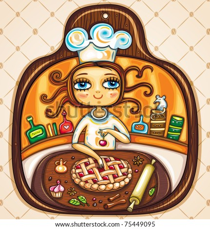 Colorful Illustration in the shape of cutting board. Cute girl  cooking cherry pie and placing cherry on top. The comfortable kitchen with cabinets, jars, roller, spices and essences. - stock vector