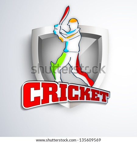 Colorful illustration of a batsman in playing action on winning trophy background with text cricket. - stock vector