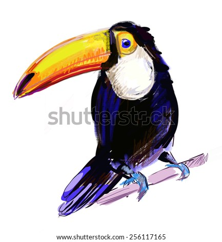colorful illustration of a cute toucan sitting on a branch. Vector. - stock vector