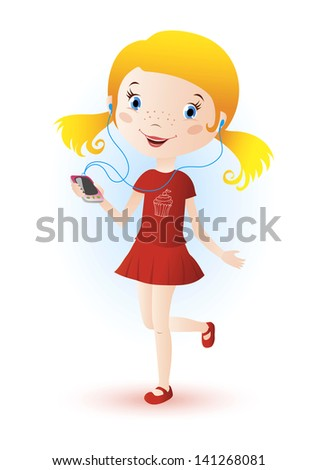 Colorful illustration of cute little girl character running and listening to music - stock vector