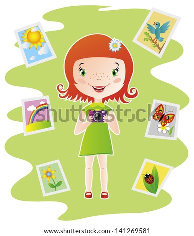 Colorful illustration of cute little girl hold the camera and photographs the nature - stock vector