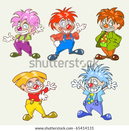 Colorful illustration of five funny clown in a cartoon style - stock vector