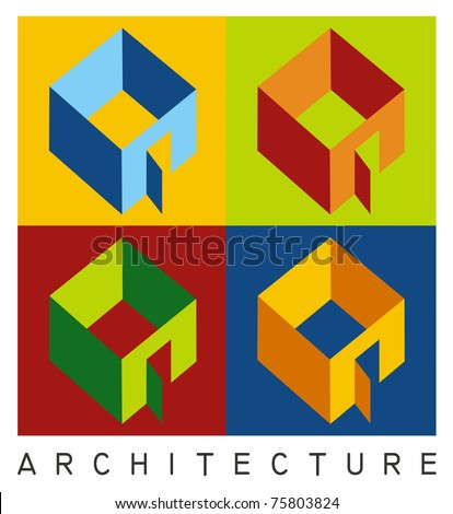Colorful illustration of four housing models in high contrast - stock vector