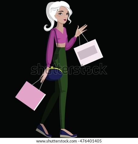 Colorful illustration of girl with bags.