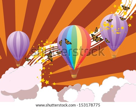 Colorful illustration of hot air balloons on abstract summer sky background.