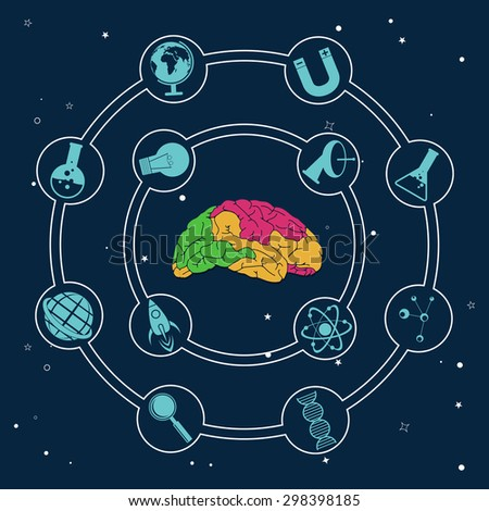 Colorful illustration of human brain with different science symbols on blue background. - stock vector