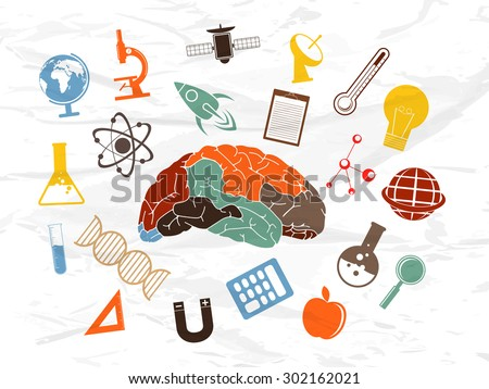 Colorful illustration of human brain with various signs and symbols of science on grungy background. - stock vector