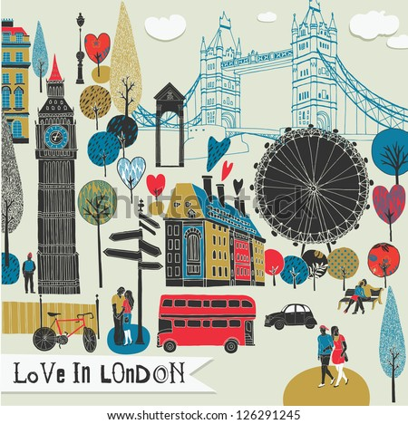 Colorful illustration of London landmarks - stock vector
