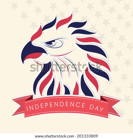 Colorful illustration of national bird on beige background for 4th of July, American Independence Day celebrations.  - stock vector