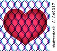 colorful illustration of red heart under chain link fence - stock photo