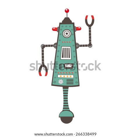 Colorful  illustration of robot character in vector format - stock vector