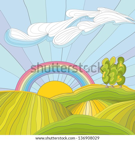 Colorful illustration of summer meadow - stock vector