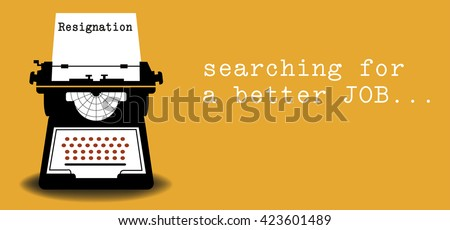 Colorful illustration with a typewriter machine typing a resignation letter - stock vector