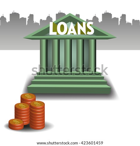Colorful illustration with bank building and a stack of coins. Loan concept - stock vector