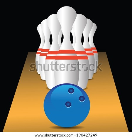 colorful illustration with bowling game for your design - stock vector