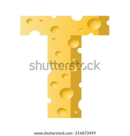 colorful illustration with cheese letter T  on a white background - stock vector