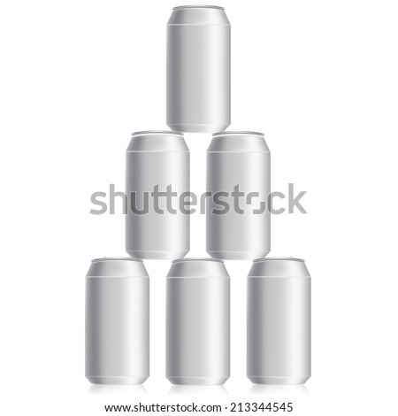 colorful illustration with drink cans on a white background - stock vector