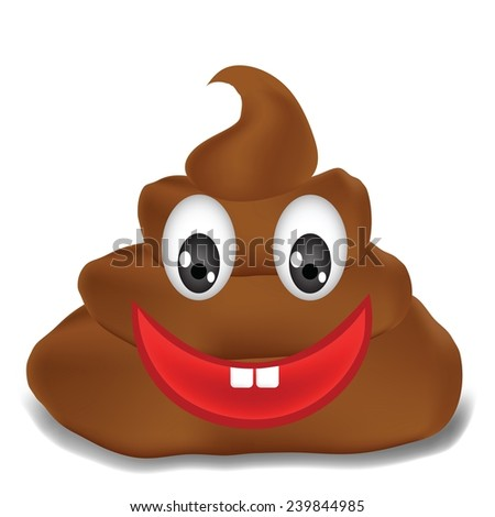 colorful illustration  with   excrement  on white background - stock vector