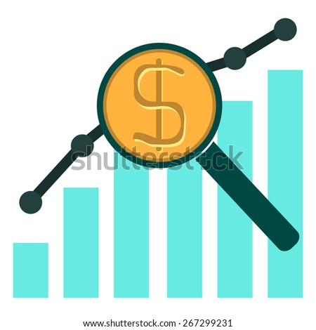 colorful illustration with financial bar chart diagram with Magnifying Glass - stock vector