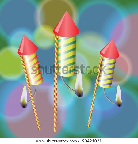 colorful illustration with fireworks on a blurred background for your design - stock vector