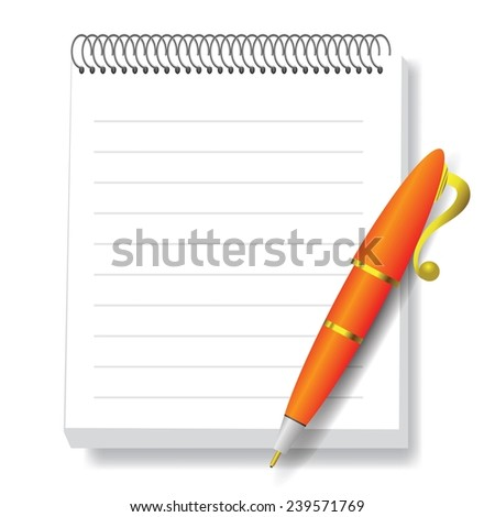 colorful illustration  with  notebook and pen  on white background - stock vector