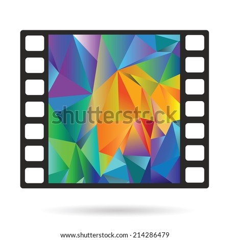 colorful illustration with Old film strip  on a white  background - stock vector
