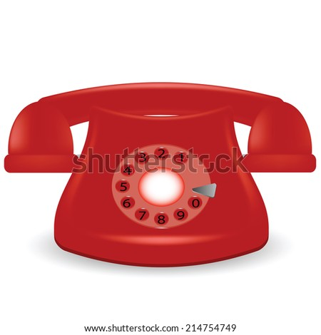 colorful illustration with old red phone on a white background - stock vector