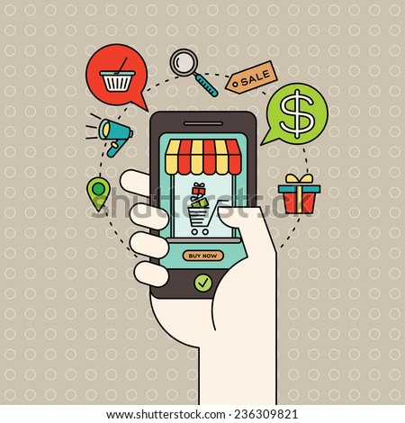 colorful illustration with outline e-commerce icons and smart phone in hand with digital marketing online shopping concept - stock vector