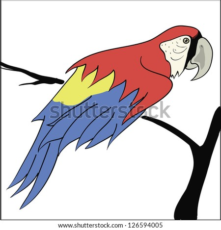 colorful illustration with parrot sitting on a branch for your design - stock vector