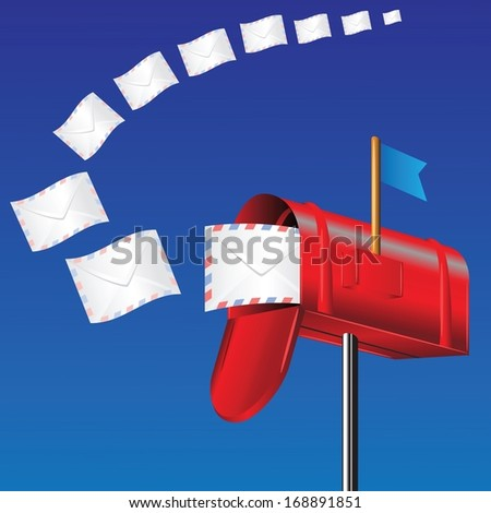 colorful illustration with red mail box for your design - stock vector