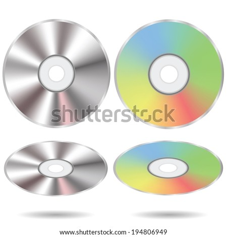 colorful illustration with set of CD discs on a white background for your design