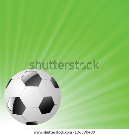 colorful illustration with  soccer ball on a green wave background for your design - stock vector