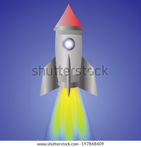 colorful illustration with spaceship for your design - stock vector