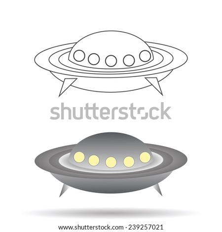 colorful illustration  with  spaceship  on white background - stock vector