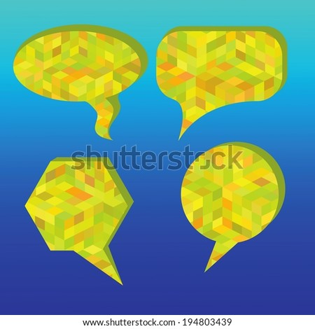 colorful illustration with speech bubbles on a blue background for your design - stock vector