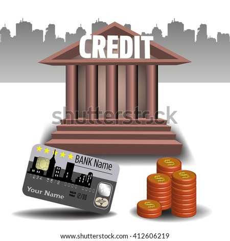 Colorful illustration with stack of coins, credit card and the word credit written on a bank building. Bank credit concept - stock vector