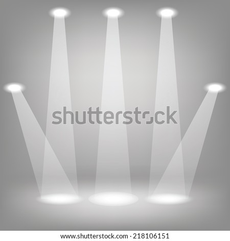 colorful illustration with Stage spotlights  on a gray background - stock vector