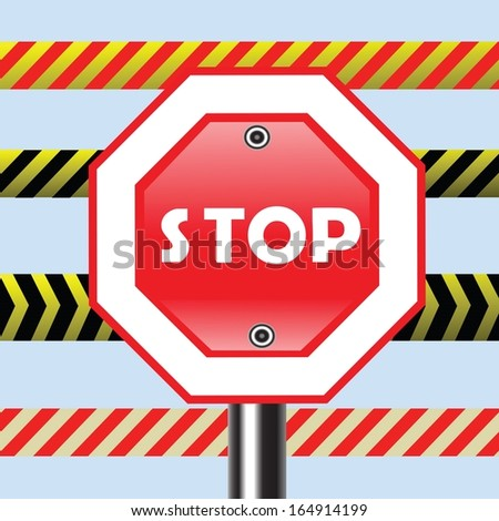 colorful illustration with stop sign for your design - stock vector