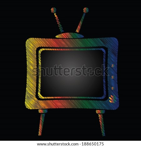 colorful illustration with television on a black background for your design - stock vector