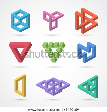 Colorful impossible shapes. Vector elements for design - stock vector